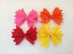 Spiked ribbon hair bow girls hair bow by DecorativeMatters on Etsy