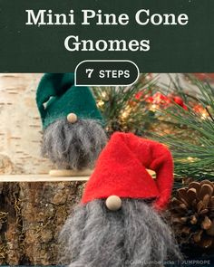 Mini Pine Cone Gnomes For Christmas Mini Pine Cone Gnomes in 7 steps using Pine Cone, Chunky Yarn, Adhesive Felt, Wooden Disk, Small Wo Christmas Crafts To Make, Christmas Gnome, Christmas Projects, Holiday Crafts, Pinecone Christmas Crafts, Pine Cone Crafts For Kids, Christmas Dragon, Christmas Pine Cones, Diy Crafts For Teens