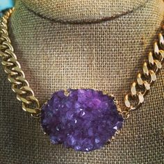 Lady Love Necklace - This huge gold chain looks awesome with this purple agate druzy - $52.00