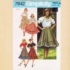 Peasant Blouse and Skirt Pattern Size 12 Square by bigdreamsupply, $9.00