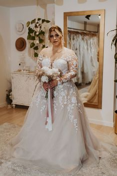 Available Colors: Ivory/Nude/Nude (pictured) Ivory/Ivory/Nude Bridal Collection, Fashion Forward, Bloom, Ivory, Nude, Wedding Dresses, Colors, Pictures, Design