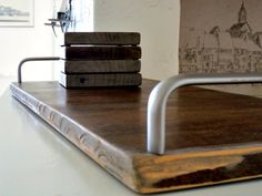 reclaimed wood serving tray with 4 coasters and metal handles