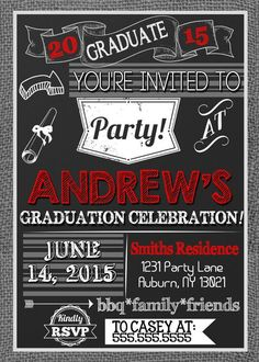 Graduation backyard barbecue bbq party cookout invitation modern boys graduation party invites burlap and red graduation invitations very modern graduation party invites custom colors options filmwisefo