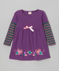 Take a look at this Purple Stripe Long Sleeve Dress - Toddler & Girls by S.W.A.K. on #zulily today!
