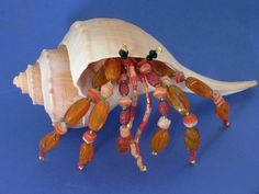 Crustacean Beaded Hermit Crab Swarovski by treasuresbytiziana