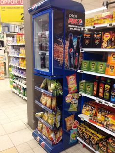 Décoration Rack+Frigo Pepsi/Lay's #display #POS Point Of Sale, Point Of Purchase, Pos Display, Display Design, Pos Design, Cross Selling, Market Stands, Displays, Retail Store Design