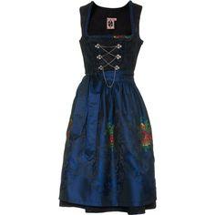 German Princess Tribal Blue Dirndl Dress With Apron ❤ liked on Polyvore