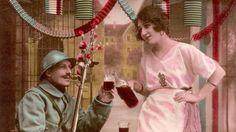"""Une carte postale ayant pour titre """"Ohé Madelon, à boire et du bon Il est connu que le """"pinard"""" coulait à flot durant la Grande Guerre. Peu d'ouvrages sont pourtant consacrés à ce sujet. Il montre combien le vin fut d'une importance stratégique."""