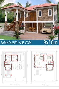 Home Design Plan 5 Bedrooms - Sam House Plans Stilt House Plans, House Plans Mansion, Duplex House Plans, House On Stilts, House Floor Plans, Contemporary House Plans, Modern House Plans, Modern House Design, Glam House