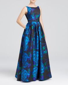 Adrianna Papell Sleeveless Floral Print Ball Gown | Bloomingdale's