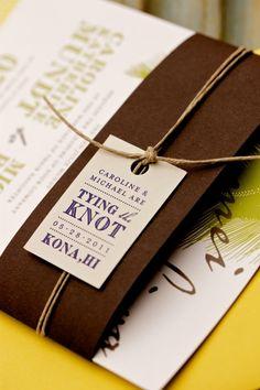 Kona, Hawaii wedding invitation. bellyband. hemp. knot.