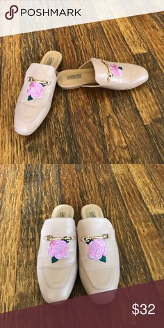 Catherine Malandrino loafer mules Nude vegan leather mules have gold buckle and floral detail.  Worn once, excellent condition. Catherine Malandrino Shoes Mules & Clogs