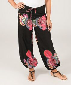 Loving this Black & Pink Arabesque Harem Pants - Plus on #zulily! #zulilyfinds