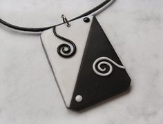 World in Black and White polymer clay pendant by windysunset, $8.00