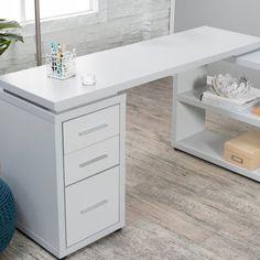 Hudson L-Shaped Desk - Gray - Desks at Hayneedle