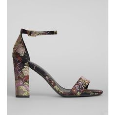 New Look Black Floral Brocade Ankle Strap Heels ($25) ❤ liked on Polyvore  featuring