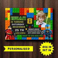 Lego Invitation / Lego Birthday / Lego Party / by GBOXXTOK on Etsy