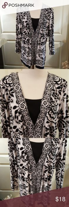 """JM Collection Black & White Blouse. Size XL. Pretty black and white long sleeve blouse BH JM Collection. Faux black """"cami look"""". Great alone or with a black cardigan, duster, or blazer. No holes, stains, pilling, or pulls. See pics for approx. measurements. Feels soft and silky. Great condition. Very nice blouse. Size XL. JM Collection Tops"""