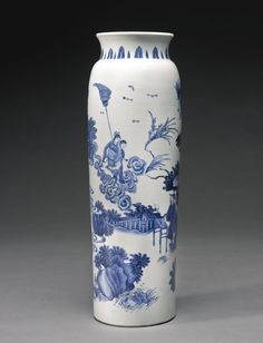 A FINE BLUE AND WHITE SLEEVE VASE, MING DYNASTY, CHONGZHEN PERIOD. -- Sotheby's