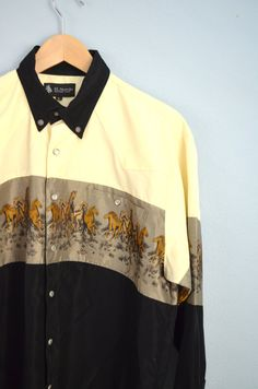 Vintage 90s Country Western Colorblock Ivory Black Gray Horses Themed Rodeo Cowboy Pearl Snap Button Up Shirt // mens large