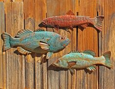 Copper striped bass fish by Mark with glass by natureartstudio