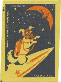 Russian matchbox label, 1959.