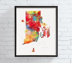 Rhode Island State Art Rhode Island Map by MiaoMiaoDesign on Etsy