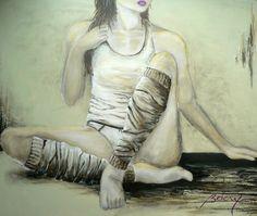 Le temps n'est rien::  Technique mixte: acrylique, encre, fusain, modeling paste _ Taille: 30 x 36 _ Janvier 2011