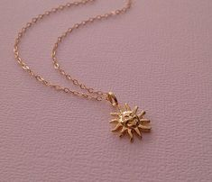"Tiny Sun Necklace in Gold Gold Sunshine by TangerineCrimeScene, $29.00 18"" chain"