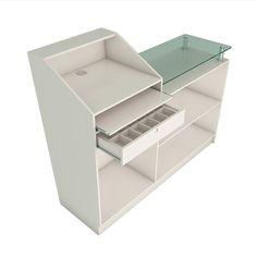 OBalcão Caixa Inclinado e Atendimento Reto é ideal para lojas de pequeno porte. Possui design diferenciado com sua mesa de atendimento em vidro, gaveteiro com corrediça, chave e porta cédulas.