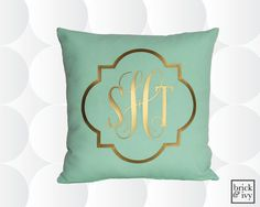 Monogramm Throw Pillow Cover  Gold oder Silber  von brickandivy