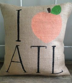 Burlap Pillow I peach ATL Atlanta Georgia by TwoPeachesDesign