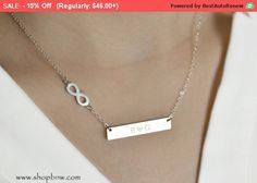 Personalized Bar Necklace / Infinity Forever by ShopBellsNWhistles