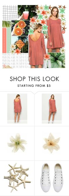 """""""//where i long to be♥"""" by tropical-songwriter ❤ liked on Polyvore featuring Nicole Miller, Kain, Clips, Converse, Summer, GREEN, orange, tropical, dresses and melsunicorns"""