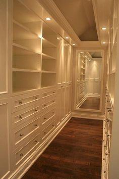 Long narrow beautiful closet #luxurywalkincloset
