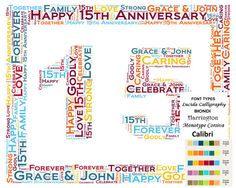FRAMED 15th Anniversary Gift for couple/15th Anniversary Gifts/15th ...