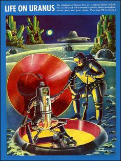 """Life on Uranus  """"Frank Rudolph Paul (1884 – 1963) was an illustrator of US science fiction pulp magazines in the  field. He was influential in defining what both cover art and interior illustrations in the nascent science fiction pulps of the 1920s looked like."""""""