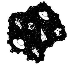 by Cathy Silvia Voget  handrawn, pen on paper  #cathysilviavoget #graphiceaters #graphiceatersstudio #illustration #graphicdesign #doodle #rysunek #ilustracja #space #kosmos #art