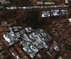Street Art In The Slums Of Kibera, Kenya Way back in the street artist and photographer known as JR did some amazing work in Kibera, Kenya. These images are so powerful, that they have stayed. Nairobi, Banksy, Liberia, Kenya, Art Public, Public Spaces, Street Installation, Graffiti, Jr Art