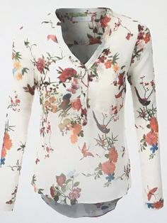 Women's Roll Up Long Sleeve Floral Print Chiffon Blouse Top