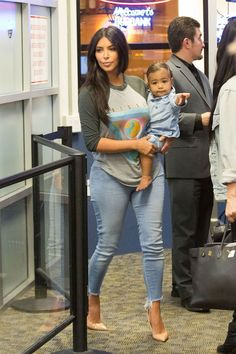 Kim Kardashian at Burbank Airport with North West in Los Angeles