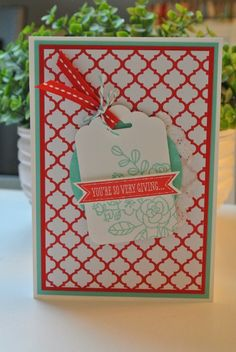 Fresh Prints paper stack, Scallop Tag Topper punch, So Very Grateful Stampin Up