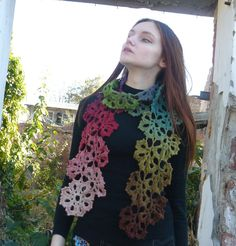 Autumn accessories Lariat scarf Unique art Crochet scarf Neck warmer Colorful Multocolor Pink Green lace scarf Eco wool scarf wrap Wool wrap