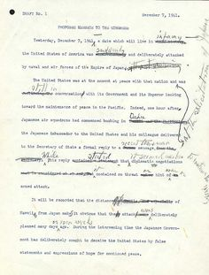 """Draft number 1 of Roosevelt's """"Day of Infamy Speech."""" (US National Archives)"""