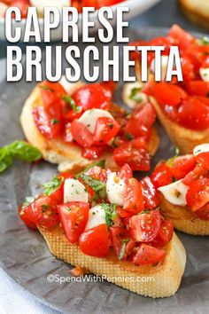 Aug 2019 - This caprese bruschetta is a fresh homemade salad recipe full of fresh tomatoes, basil, and mozzarella tossed with balsamic vinaigrette! Italian Appetizers, Yummy Appetizers, Appetizer Recipes, Homemade Bruschetta, How To Make Bruschetta, Cooking Recipes, Healthy Recipes, Clean Eating Snacks, Recipes
