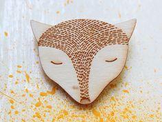 FOX wood brooch