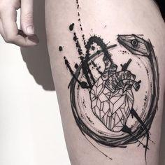 tattoodo | Anatomical heart tattoo by Matteo Gallo #MatteoGallo #trashstyle #graphic #blackwork #sketch #abstract #anatomicalheart #ouroboros #snake | Tattoodo