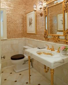 Gilded Glam Bathroom Featuring Maya Romanoff S Mother Of Pearl Wall Covering