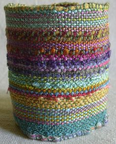 Handwoven Cuff, Woven Fabric Bracelet Future weaving challenge-Wonder Woman cuffs!