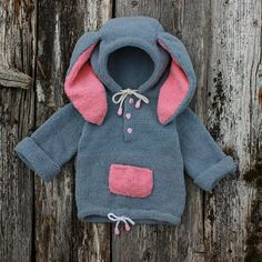 Bunny hoodie Funny knitwear Grey and pink baby clothes Rabbit hoodie Little girl sweatshirt for child Knitwear with hood Woodland clothes